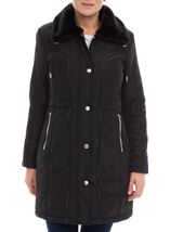Anna Rose Faux Fur Trim Coat Black - Gallery Image 2