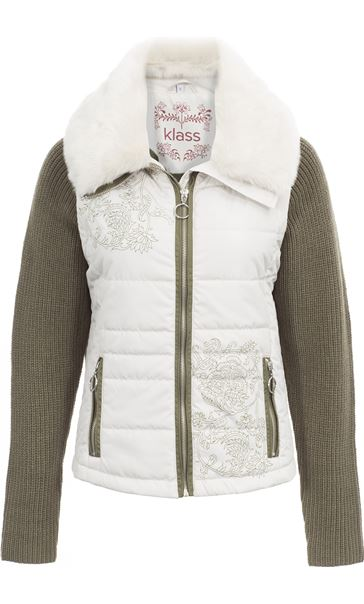 Detachable Knit Sleeve Gilet Stone