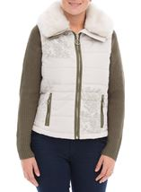 Detachable Knit Sleeve Gilet Stone - Gallery Image 2
