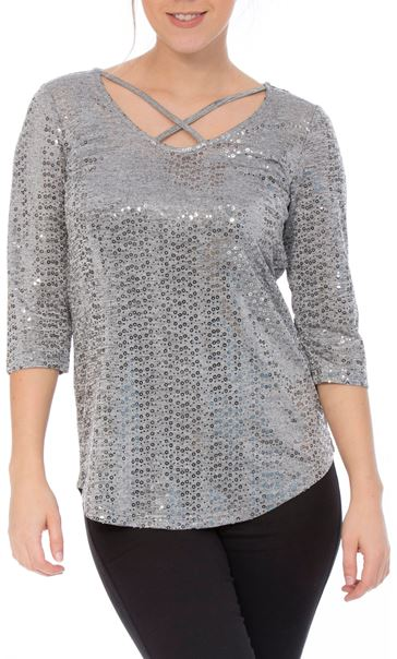 Spangle Jersey Cross Front Top Silver