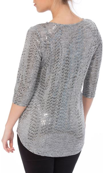 Spangle Jersey Cross Front Top Silver - Gallery Image 2