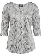 Spangle Jersey Cross Front Top Silver - Gallery Image 4