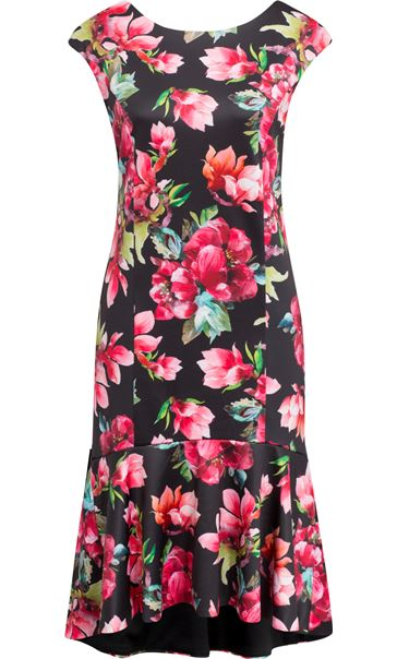 Floral Frill Hem Scuba Dress Black/Red