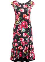 Floral Frill Hem Scuba Dress Black/Red - Gallery Image 1