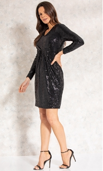 Long Sleeve Sequin Midi Dress