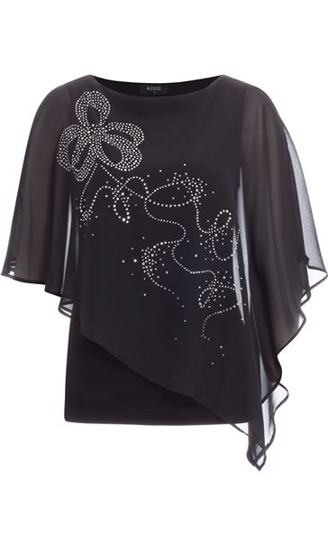 Embellished Chiffon Layered Top Black