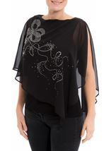 Embellished Chiffon Layered Top Black - Gallery Image 2