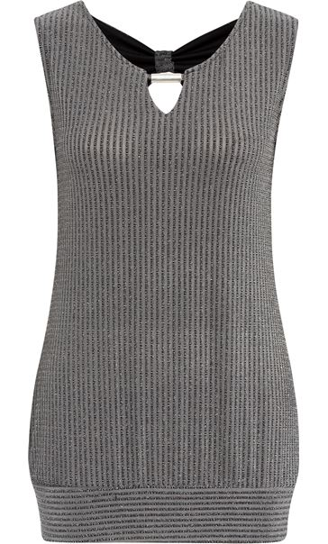 Metallic Stripe Sleeveless Top Black/Silver