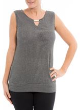 Metallic Stripe Sleeveless Top Black/Silver - Gallery Image 2