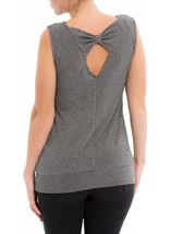 Metallic Stripe Sleeveless Top Black/Silver - Gallery Image 3