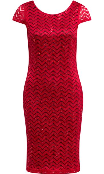 Fitted Lace Shift Dress Red