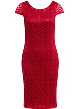 Fitted Lace Shift Dress Red - Gallery Image 1
