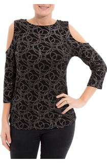 Cold Shoulder Glitter Circle Top