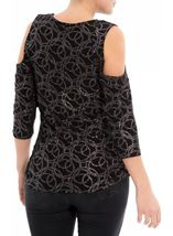 Cold Shoulder Glitter Circle Top Black/Rainbow - Gallery Image 3
