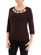 Shimmer Stretch Top Black/Red - Gallery Image 2