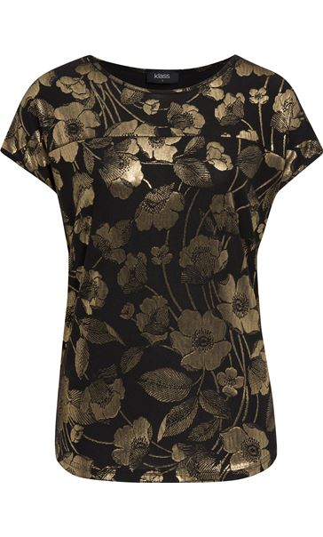 Floral Foil Printed Loose Fit Top Black/Gold
