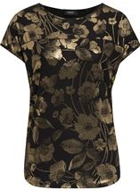 Floral Foil Printed Loose Fit Top Black/Gold - Gallery Image 1