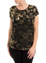 Floral Foil Printed Loose Fit Top Black/Gold - Gallery Image 2