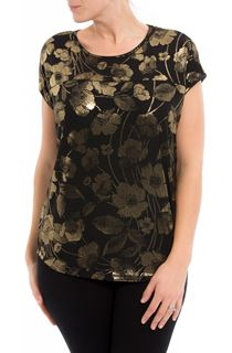 Floral Foil Printed Loose Fit Top