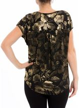 Floral Foil Printed Loose Fit Top Black/Gold - Gallery Image 3