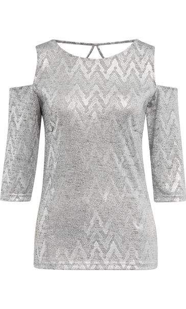Cold Shoulder Shimmer Print Top Silver