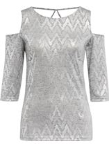 Cold Shoulder Shimmer Print Top Silver - Gallery Image 1
