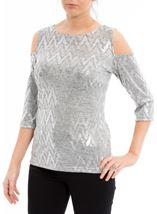 Cold Shoulder Shimmer Print Top Silver - Gallery Image 2