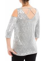 Cold Shoulder Shimmer Print Top Silver - Gallery Image 3