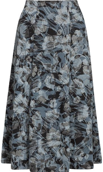 Anna Rose Fit And Flare Printed Skirt Grey/Black