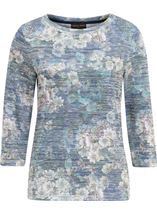 Anna Rose Floral Print Embellished Top Navy/Green - Gallery Image 1