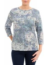 Anna Rose Floral Print Embellished Top Navy/Green - Gallery Image 2