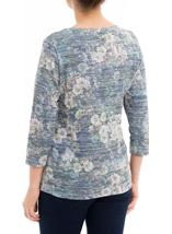 Anna Rose Floral Print Embellished Top Navy/Green - Gallery Image 3