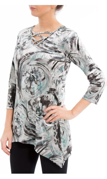 Anna Rose Printed Velour Top Grey/Aqua
