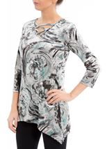 Anna Rose Printed Velour Top Grey/Aqua - Gallery Image 1