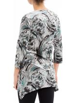 Anna Rose Printed Velour Top Grey/Aqua - Gallery Image 2