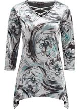 Anna Rose Printed Velour Top Grey/Aqua - Gallery Image 3