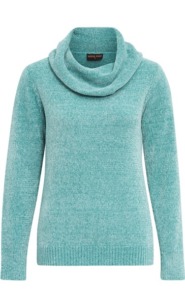 Anna Rose Cowl Neck Chenille Top Aqua