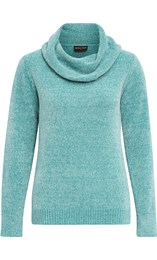 Anna Rose Cowl Neck Chenille Top Aqua - Gallery Image 1