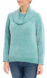 Anna Rose Cowl Neck Chenille Top Aqua - Gallery Image 2