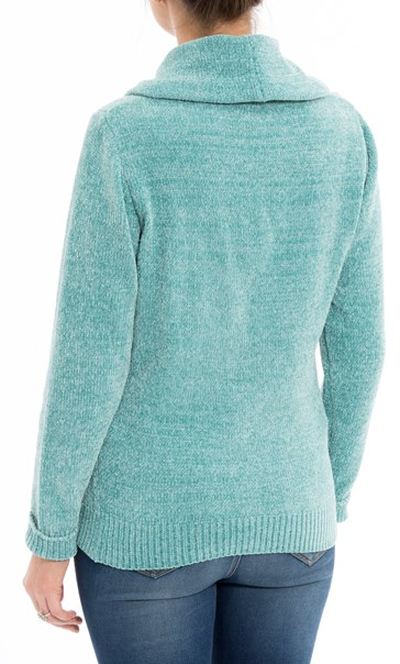 Anna Rose Cowl Neck Chenille Top Blue - Gallery Image 3
