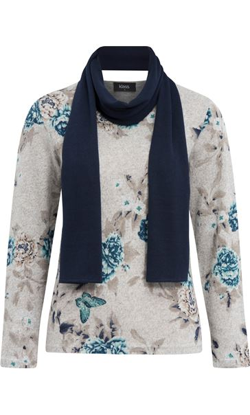 Anna Rose Floral Knit Top With Scarf Grey/Aqua