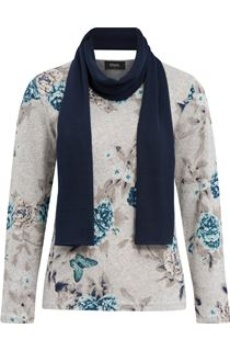 Anna Rose Floral Knit Top With Scarf