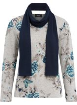 Anna Rose Floral Knit Top With Scarf Grey/Aqua - Gallery Image 1