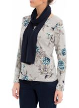 Anna Rose Floral Knit Top With Scarf Grey/Aqua - Gallery Image 2