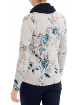 Anna Rose Floral Knit Top With Scarf Grey/Aqua - Gallery Image 3