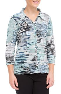 Anna Rose Printed Pleat Blouse With Necklace - Navy/Aqua/Grey