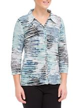 Anna Rose Printed Pleat Blouse With Necklace Navy/Aqua/Grey - Gallery Image 1