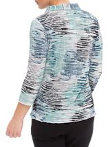 Anna Rose Printed Pleat Blouse With Necklace Navy/Aqua/Grey - Gallery Image 2