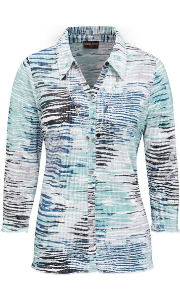 Anna Rose Printed Pleat Blouse With Necklace Navy/Aqua/Grey - Gallery Image 4