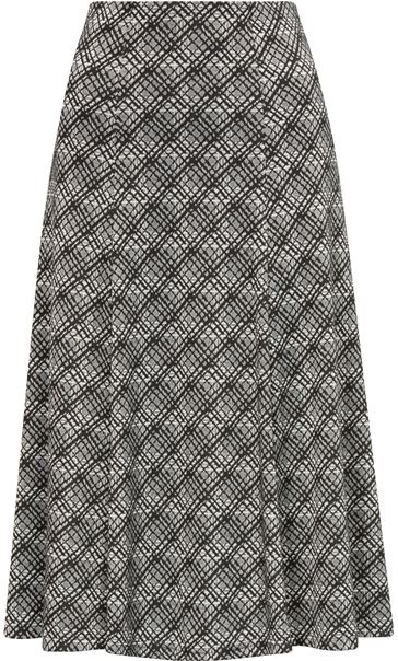 Anna Rose Fit And Flare Printed Skirt Black/Ivory